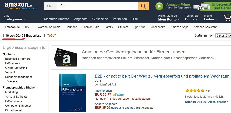 Amazon Platz 1 von 20.494 in Kategorie B2B c2